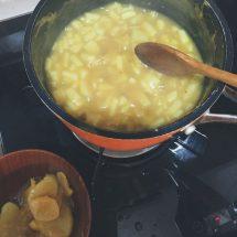 加入薑片、檸檬汁與蘋果,用中火煮同煮柿漿